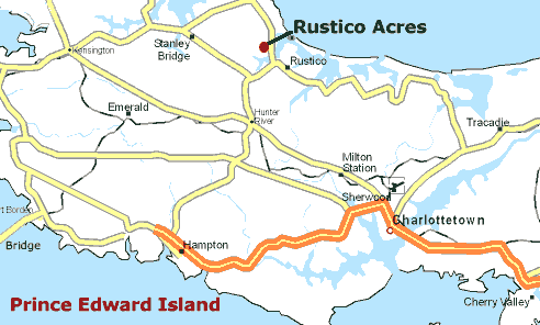 Map of Prince Edward Island showing Rustico Acres